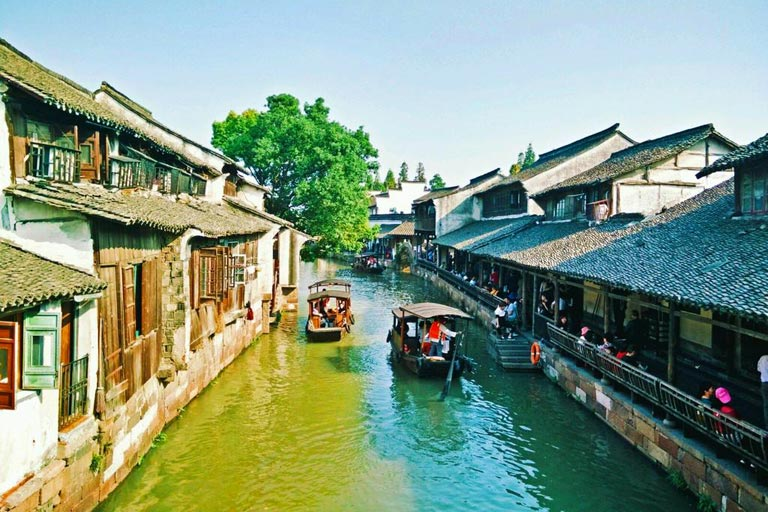 Leisure Boating at Western Scenic Area of Wuzhen