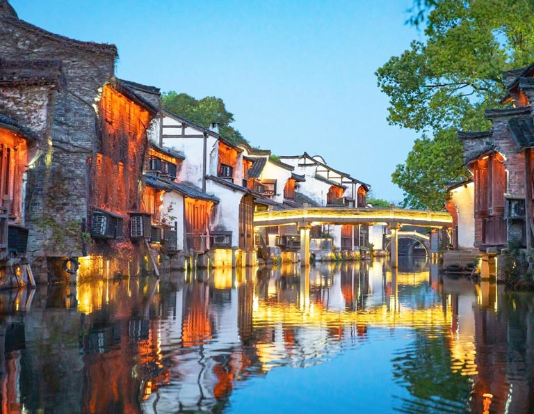 Wuzhen Water Town West Night Scenery