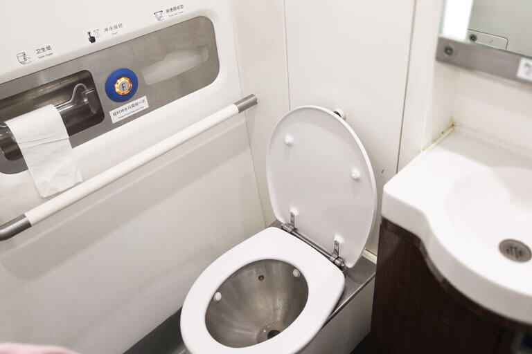 China Bullet Train Second Class Seat - Toilet Onboard Train
