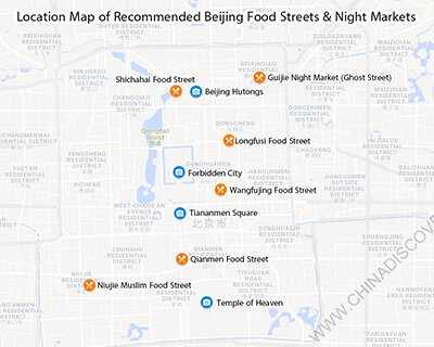 Location Map of Beijing Food Streets