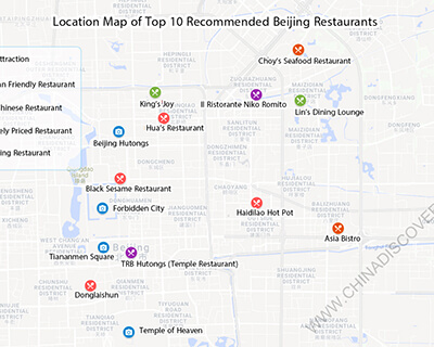 Location Map of Top 10 Recommended Beijing Restaurants