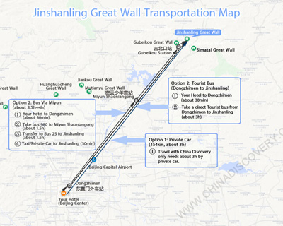 Jinshanling Great Wall Transportation Map