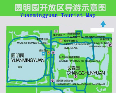 Old Summer Palace (Yuanmingyuan) Map