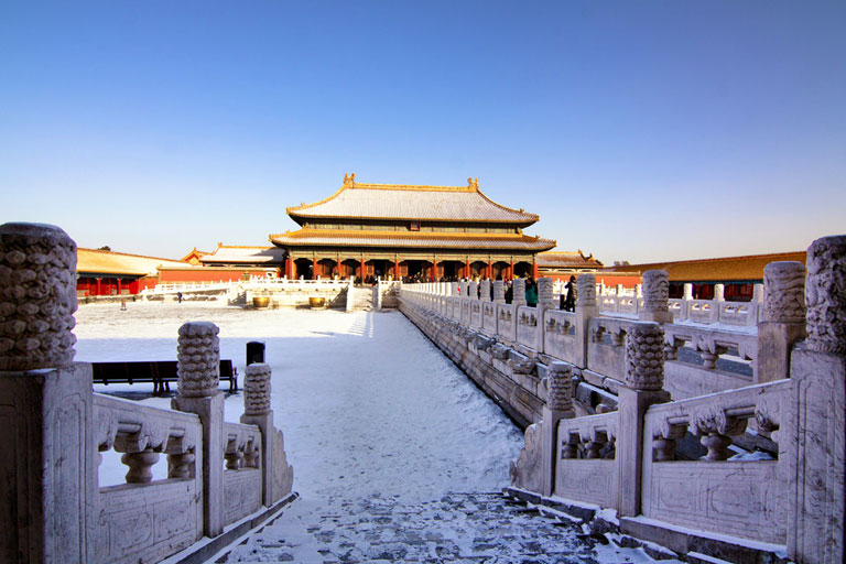 Forbidden City Covered with Snow in Winter
