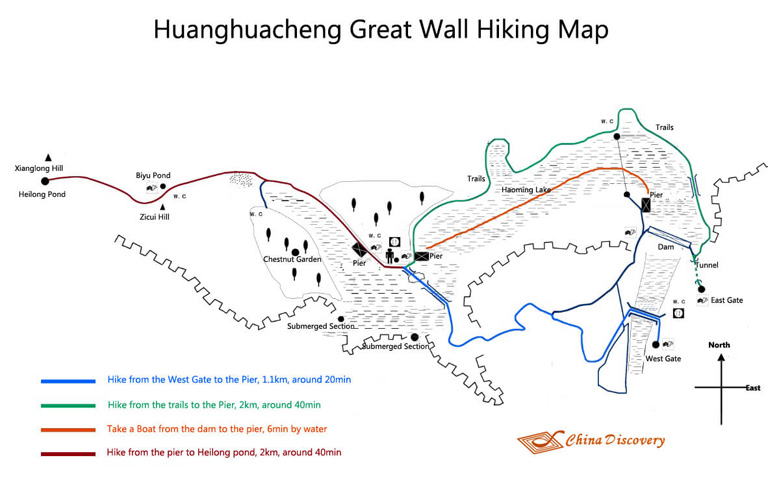 Huanghuacheng Hiking Map