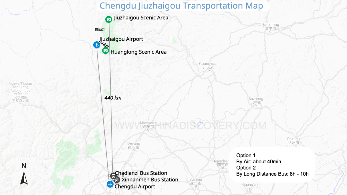 Chengdu to Jiuzhaigou map