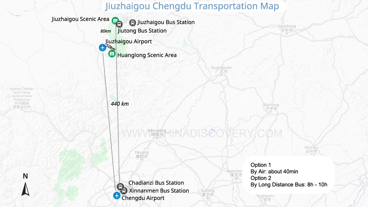 Jiuzhaigou to Chengdu map