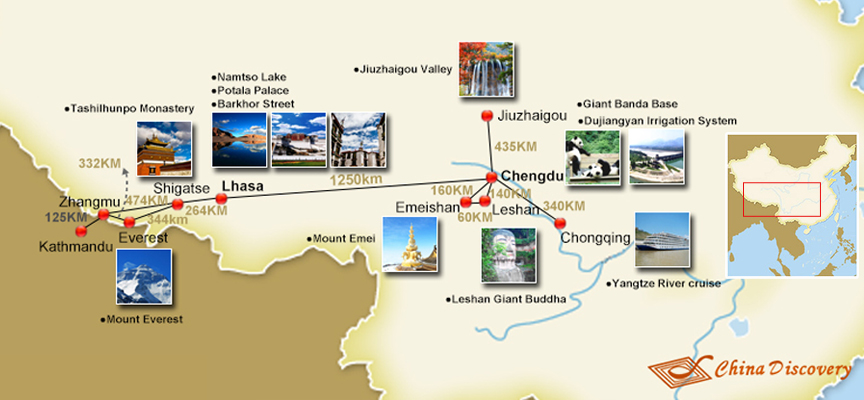 Chengdu Tibet Travel Map