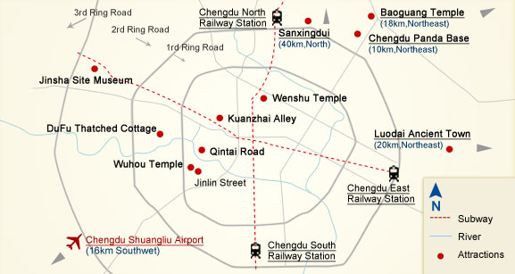 Chengdu Tourist Attractions Map