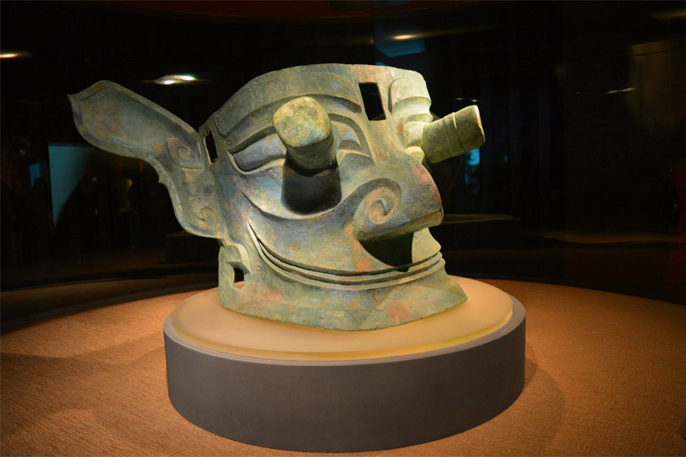 Unearthed Masks in Sanxingdui Archaeological Site