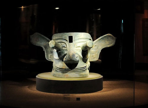 Sanxingdui Museum - The Crowned Mask with Protruding Eyes