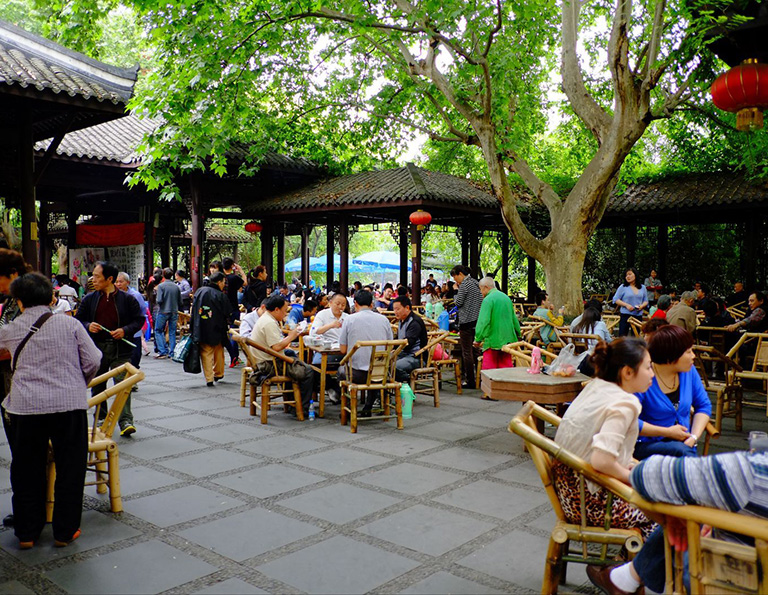 Leisure Time at Teahouse in Chengdu