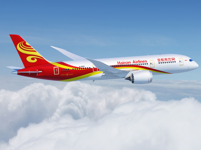 Boeing 787 Hainan Airlines, une des dernières grandes compagnies chinoises internationales hors alliance.