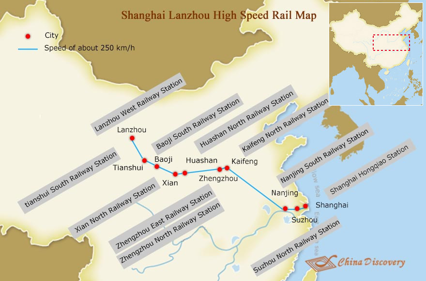 Shanghai to Lanzhou High Speed Rail Map