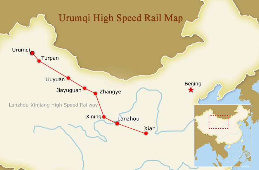 Urumqi High Speed Rail Map