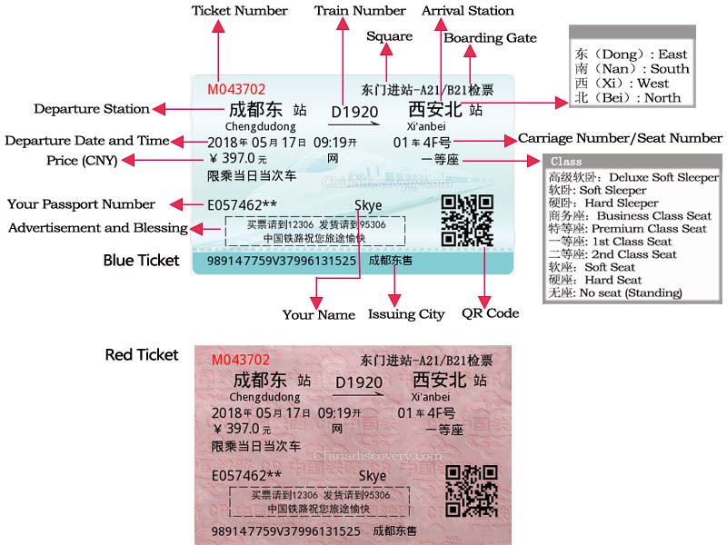 How to Read China High Speed Train Tickets