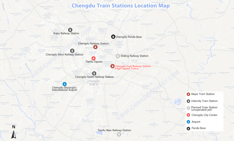 Location Map of Chengdu Railway Stations
