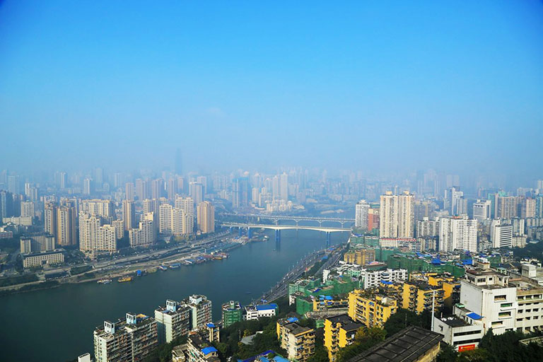 Chongqing City Panorama from Erling Park