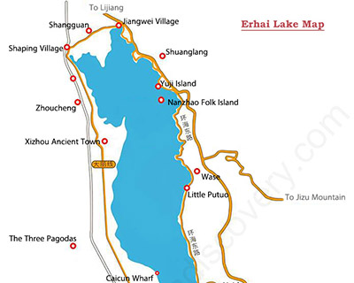 Dali Erhai Lake Map