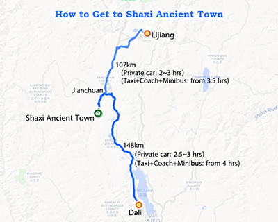 Dali/Lijiang to Shaxi Map