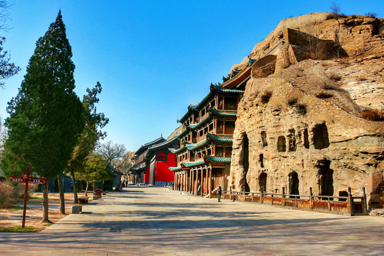 Yungang Grottoes in Autumn
