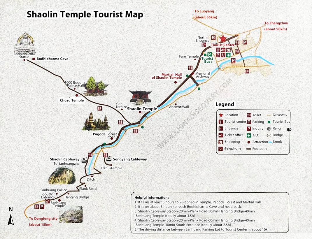 Shaolin Temple Tourist Map