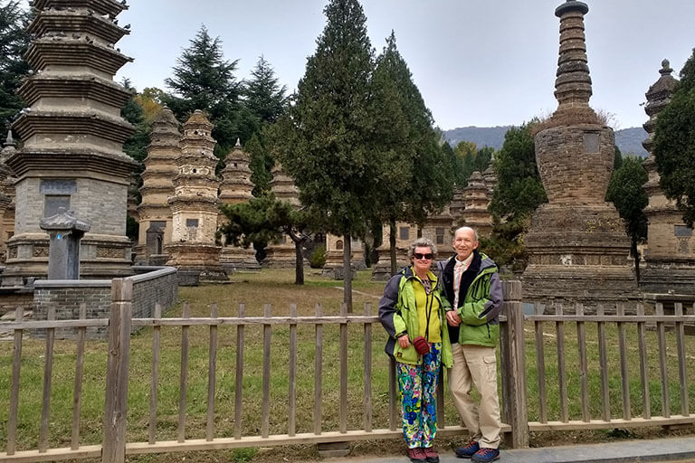 Our dear guest Walkers visited the Pgoda Forest in Shaolin Temple