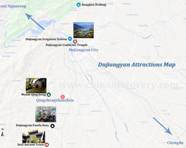 Dujiangyan Attractions Map