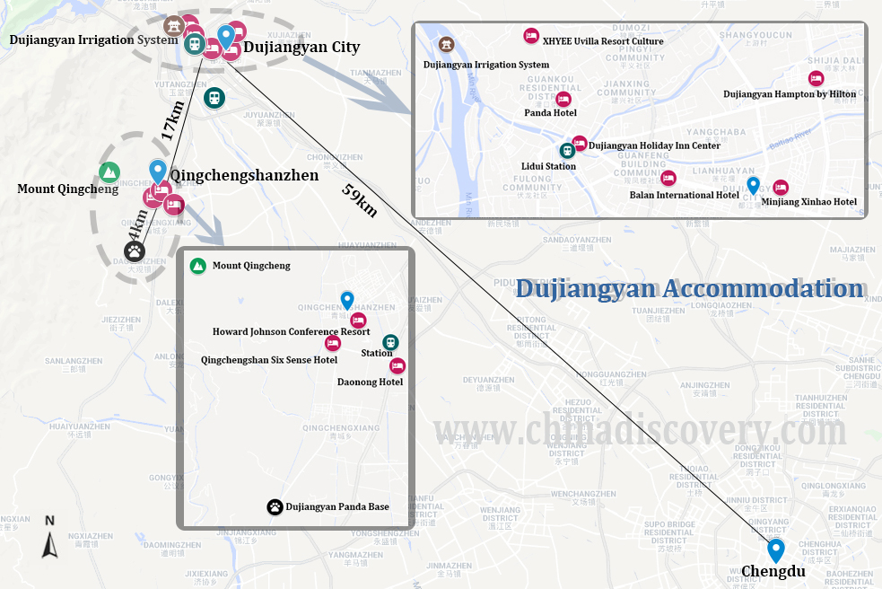 Map of 3 Best Places to Stay in Dujiangyan