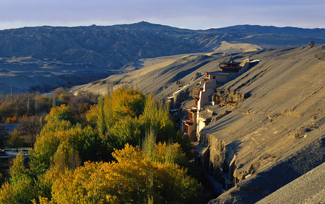 Mogao Caves were constructed on a cliff of Mingshashan Desert