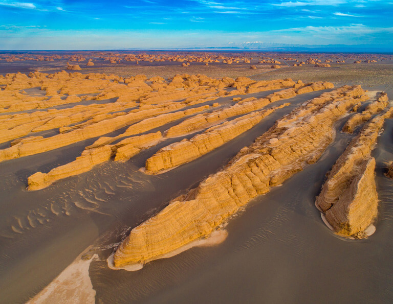 Yardang National Geopark Looks Like A Fleet from Aerial View