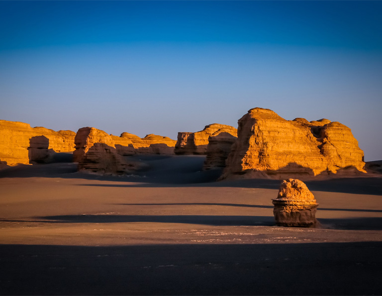 Beautiful Yardang National Geopark Sunset in June