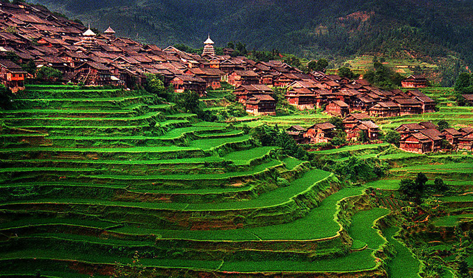 Beautiful Dong Minority Village in Guizhou
