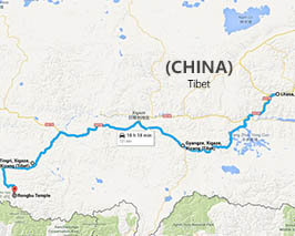 Lhasa to Everest driving map