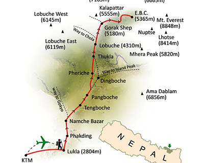 Mount Everest Maps, Map of Mount Everest Base Camp