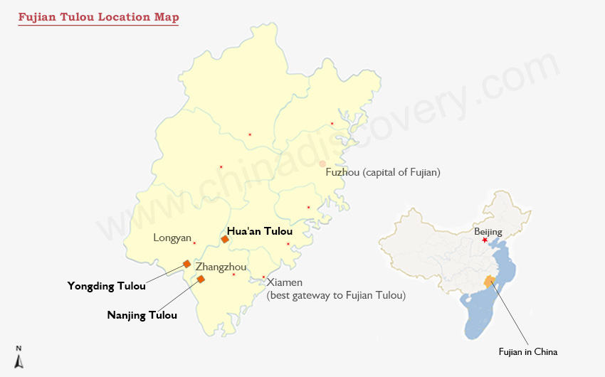 Map of Tulou China