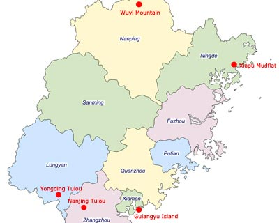 Cities Map of Fujian Province