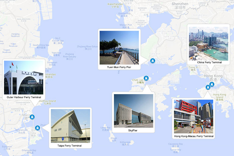 Hong Kong and Macau Ferry Terminals Location Map