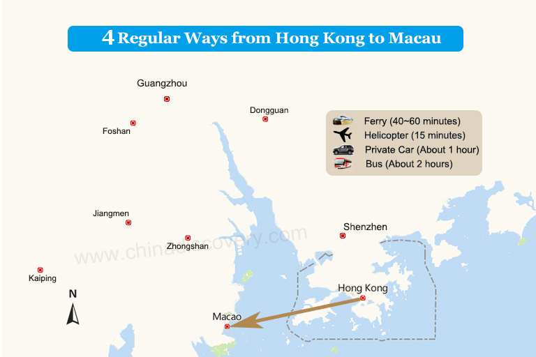 Macau to Shenzhen Transport Map