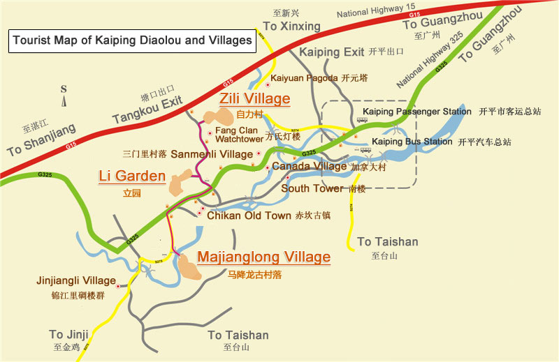 Kaiping Diaolou and Villages Map