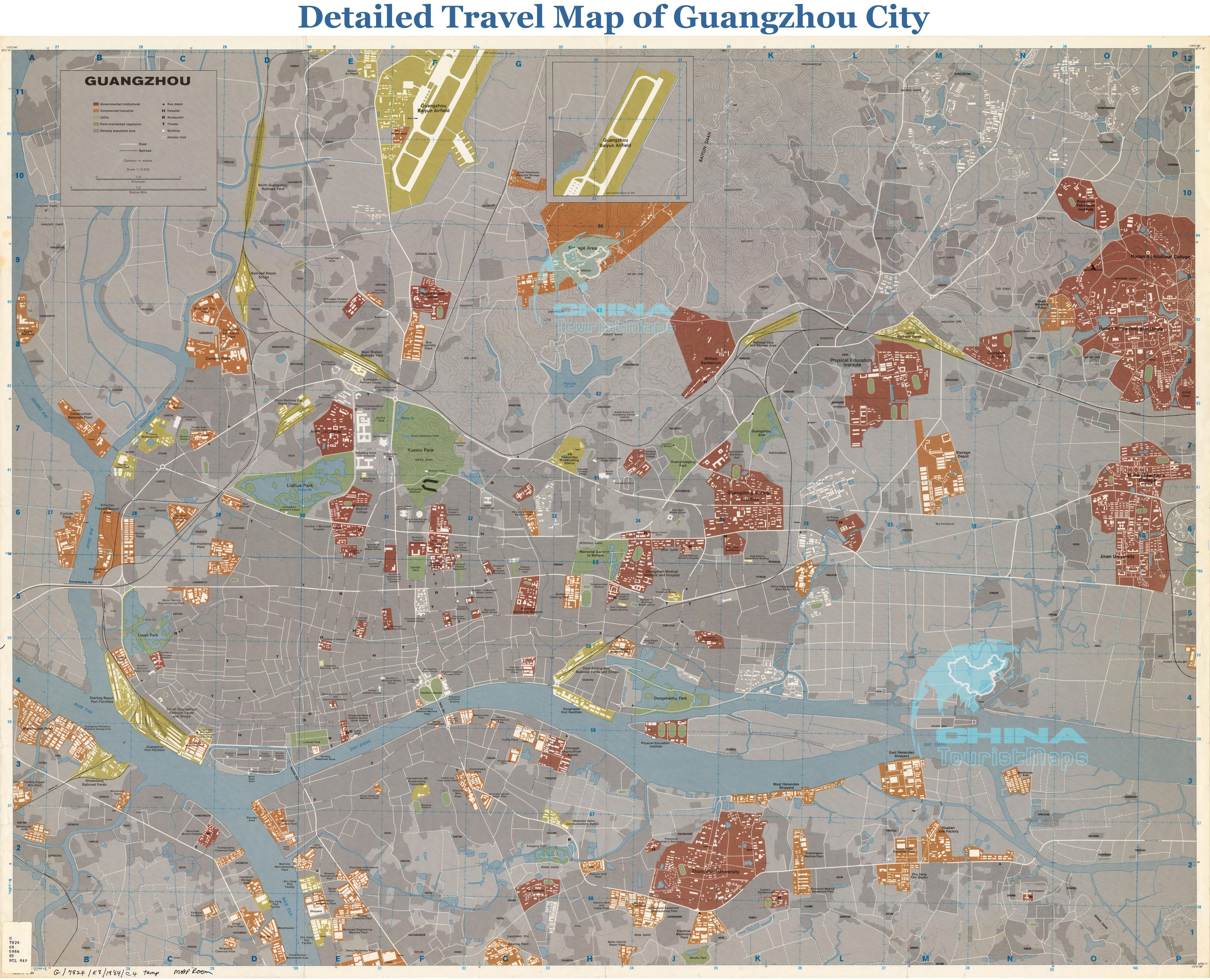 Guangzhou Maps Detailed China Guangzhou Attraction - Guangzhou map