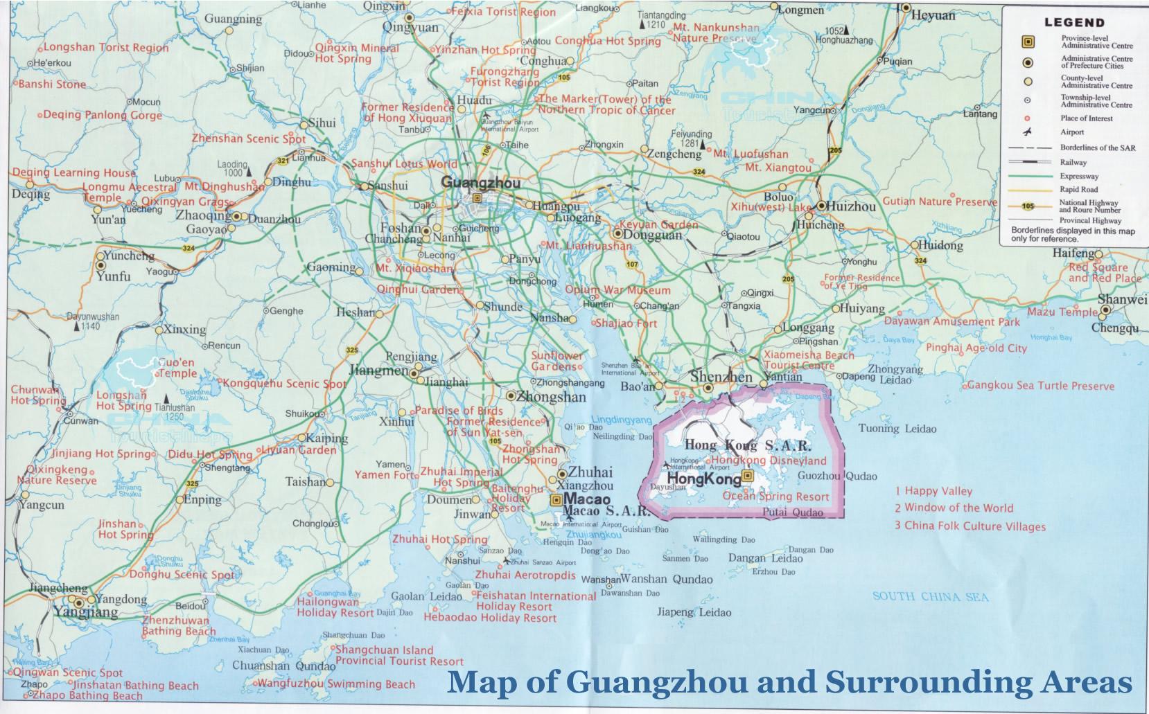 Guangzhou Maps: detailed China Guangzhou Attraction