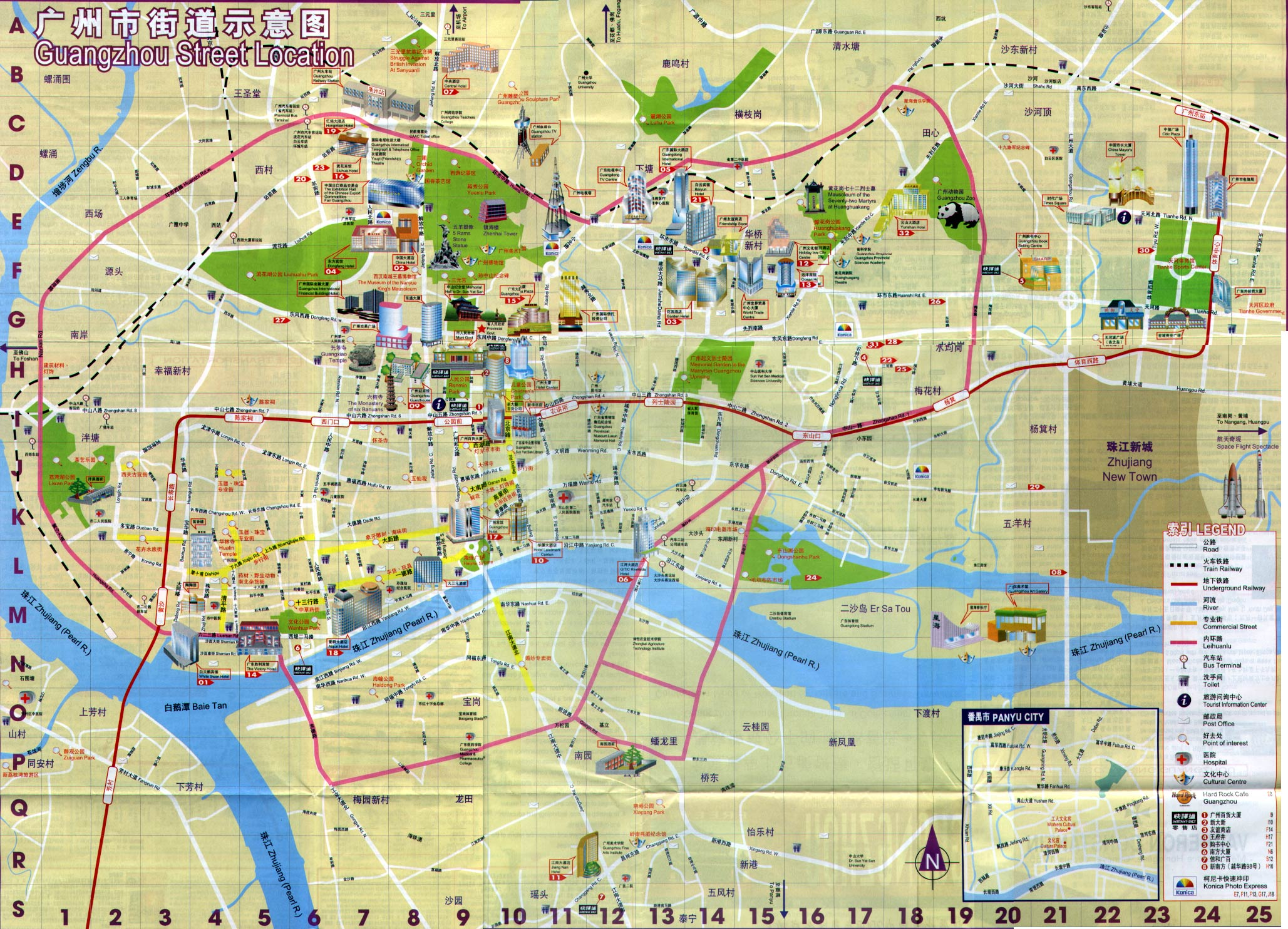 Guangzhou Maps: detailed China Guangzhou Attraction
