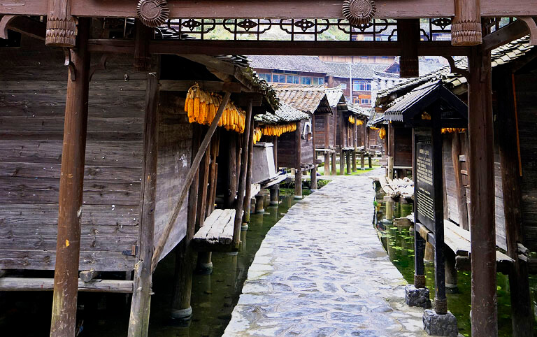 Datang Miao Village Construct Granaries above the Water to Keep from Mice