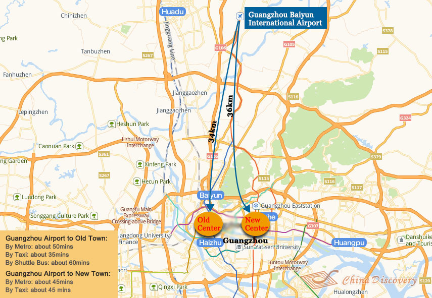 Guangzhou Airport to City Center Map