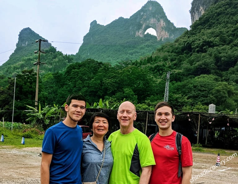Family Visiting Moon Hill at Yangshuo Ten-mile Gallery
