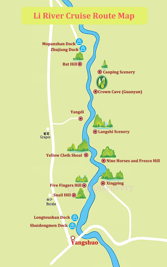 Li River Cruise Route Map