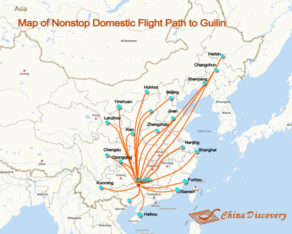 Domestic Flight Path to Guilin Map