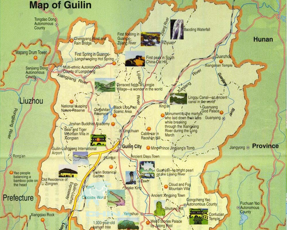 Guilin Attractions Map