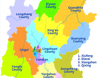 Guilin Districts Map